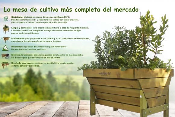 Mesa de cultivo para huertos urbanos modelo Carla y Paula distribuidas en Asturias por EcoAsturias