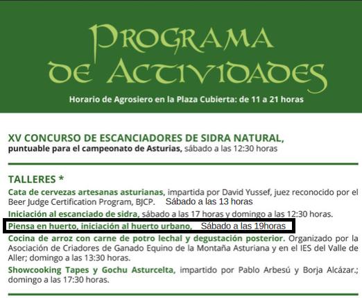 Taller de Huerto Urbano EcoAsturias en Agrosiero