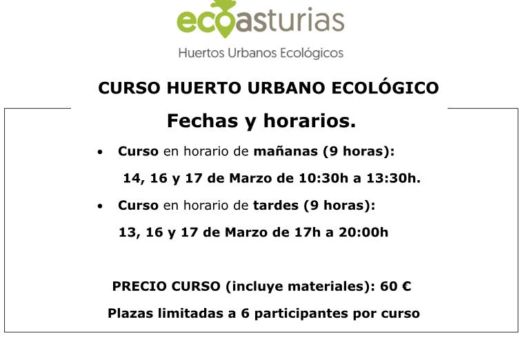 Curso Huerto Urbano Ecológico en Gijón en marzo