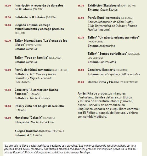 Actividaes Día Reciella 2017